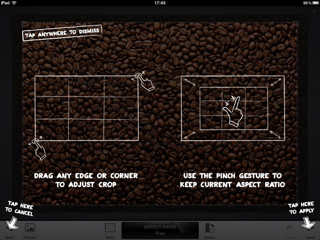 Captură de ecran cu unealta de Crop din Snapseed pentru iPad