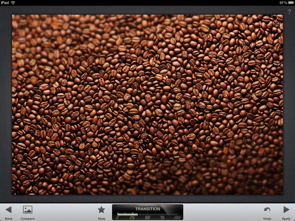 Captura de ecran cu rezultatul filtrului creativ Tilt and Shift din Snapseed pentru iPad