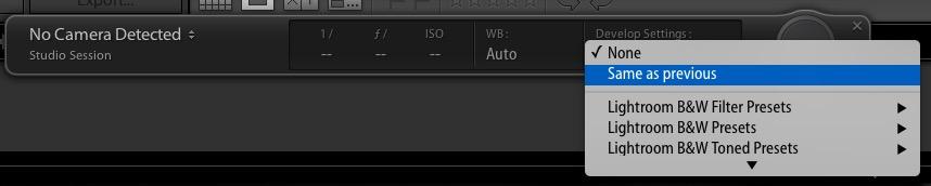 fereastra cu setari de tethering in Adobe Lightroom - controlul aparatului