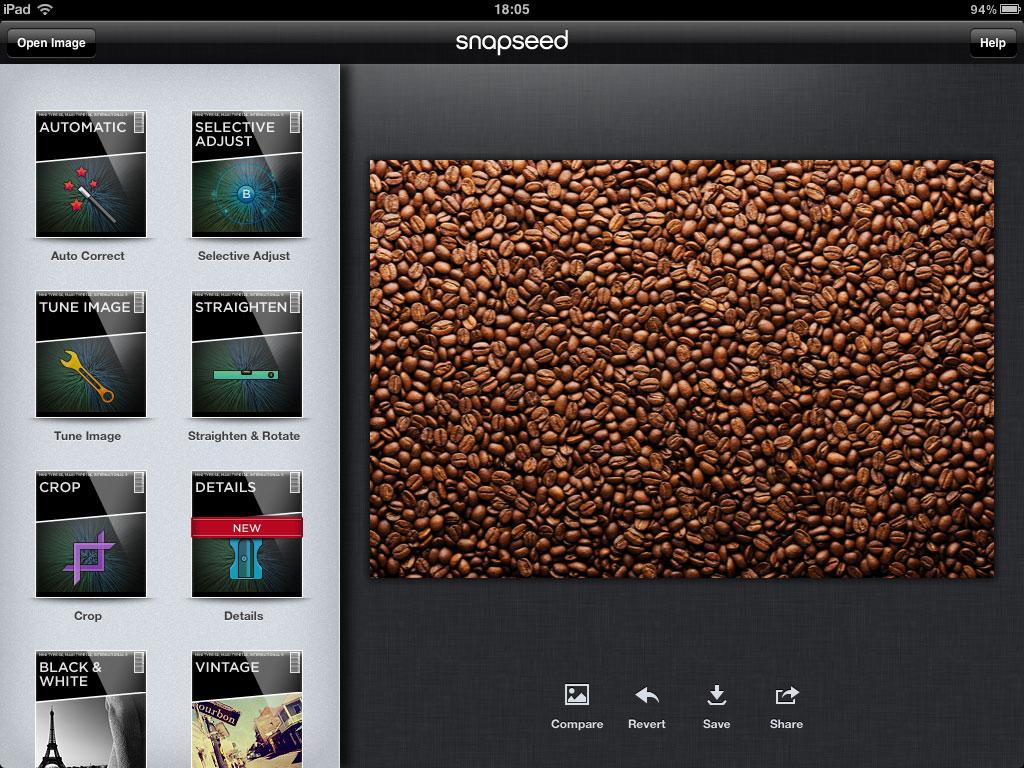 Imagine cu ecranul principal al aplicatiei de editare foto Snapseed pentru iPad